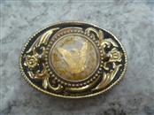 GOLD PLATED BELT BUCKLE - GOLD FLAKE IN CENTER